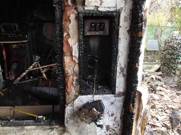 Lakás tűz kiégett villanyóra